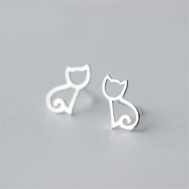 Open Kitty Cat 925 Sterling Silver Stud Earrings
